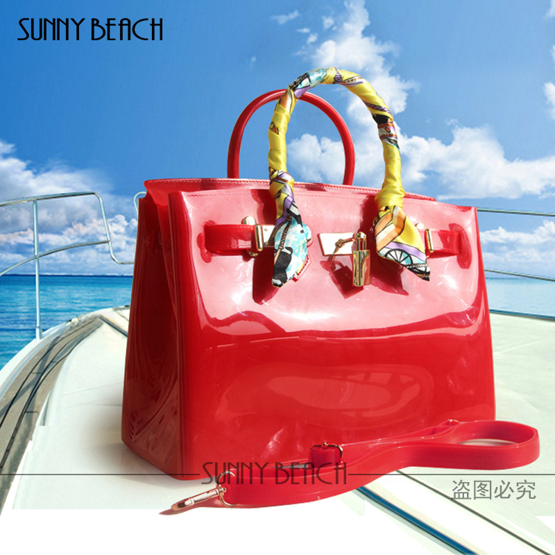 Hot sale popular turquoise bag female handbag plastic PVC waterproof rubber bags jelly beach bags candy color women purse european candy color jelly package imported rubber rubber single shoulder handbag concise doctrine finalize the design package