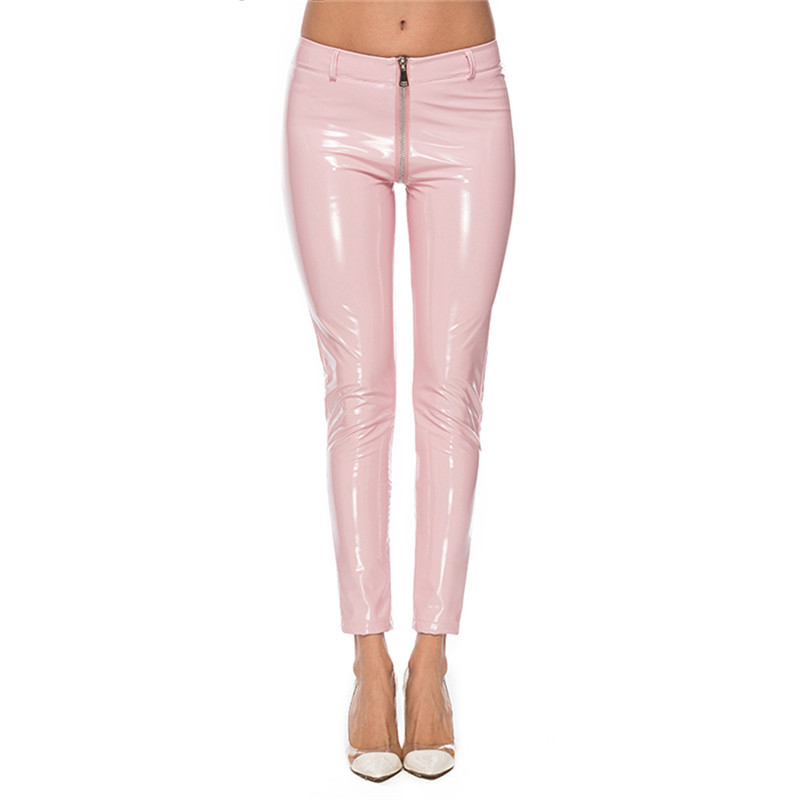 2019 Wetlook Women Sexy Shiny PU leather Leggings with Back Zipper Push Up Hot Faux Leather Pants Latex Rubber Pants Pink White