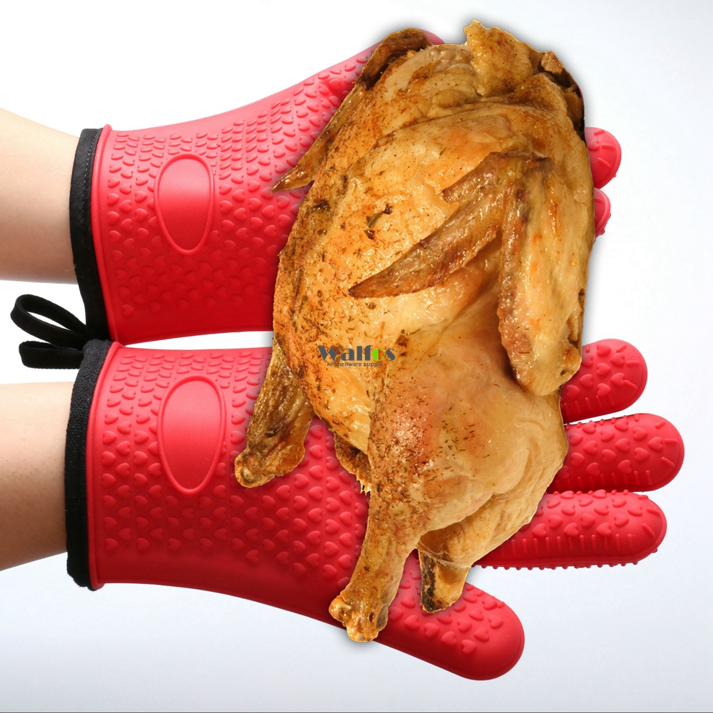 KITNEWER super thick two piece Heat Resistant Silicone Glove with cotton Cooking Baking BBQ Oven
