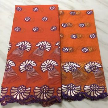 5Yards/pc Fashionable orange african cotton fabric with flower design and 2yards french net lace set for dress BC21-1