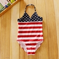0-2T Baby Girls Swimwear Toddlers Kids One Pieces Mine Mouse Dot Print Swimming Suit Baby Clothing american flag