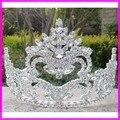 Большой театрализованное люкс свадебное крона тиары для девочек высокое качество искра кристалл большой театрализованное праздник хэллоуин взрослых короны, тиары
