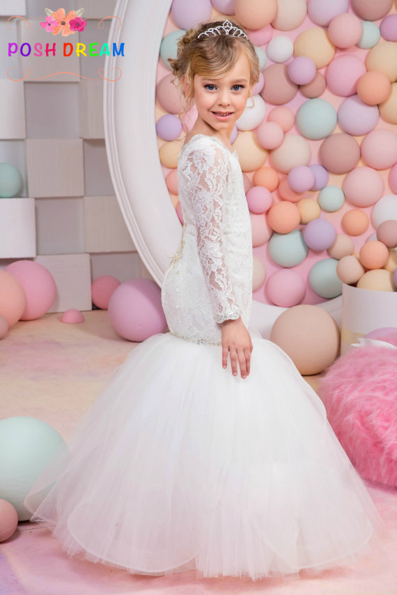 POSH DREAM White Girl Wedding Mermaid Dresses Cute Sweet White Lace Flower Girl Dresses for Wedding Party Princess Kids Dress white sweet delicate lace panties