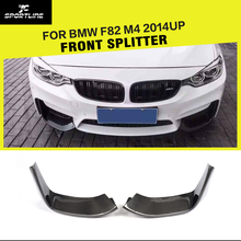 4 Series F82 M4 Car-Styling Carbon Fiber Front Lip Splitter Flap Cupwings for BMW F82 M4 Bumper Only 2014UP