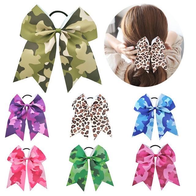 7 Inch Girls Large Hair bows Cheerleading Bowknot Elastic Hair Band Children Cute Hairband For Kids Girls Hair Accessories