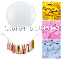 3 zestaw Dekoracje Świąteczne 36 inch Giant Biały Lateks Balony Tassel Garland Bibuły Konfetti Papieru Niebieski Białe Złoto dla urodziny