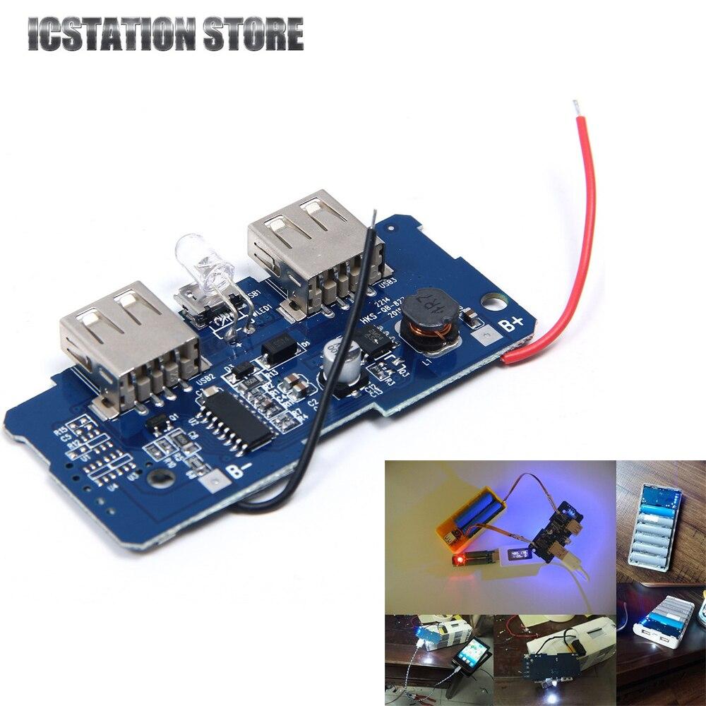 Dual USB 5 V 2A DIY Mobile Power Bank 18650 Cargador de Batería Placa PCB Con LE