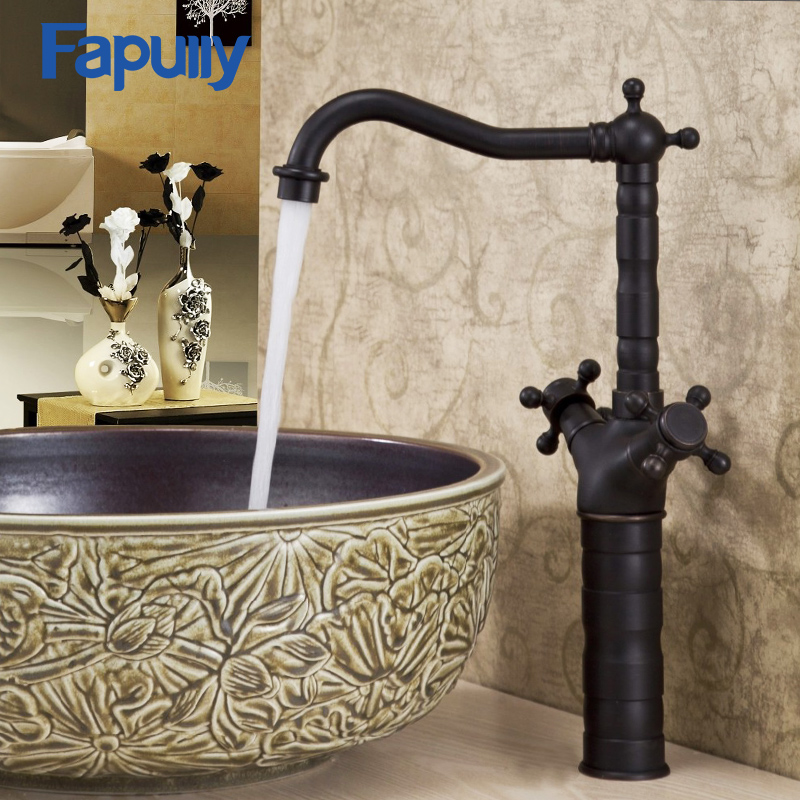 Fapully Basin Faucet Double Handle Bathroom Water Tap Cold Hot Oil Rubbed Bronze Bathroom Sink Mixer Faucet oil rubbed bronze basin sink faucet dual handle 3 hole mixer tap hot and cold water widespread bathroom faucet