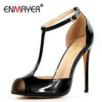 ENMAYER T Strap Shoes Woman High Heels Ankle Strap Womens Sandals Summer 2017 Peep Toe Chaussures