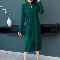 Warm knitted dress plus size winter autumn v neck 2018 long sleeve bodycon pocket dresses robe casual green black midi clothes