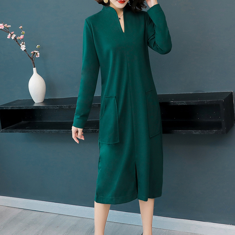 d3324ac7286 Warm knitted dress plus size winter autumn v neck 2018 long sleeve bodycon  pocket dresses robe