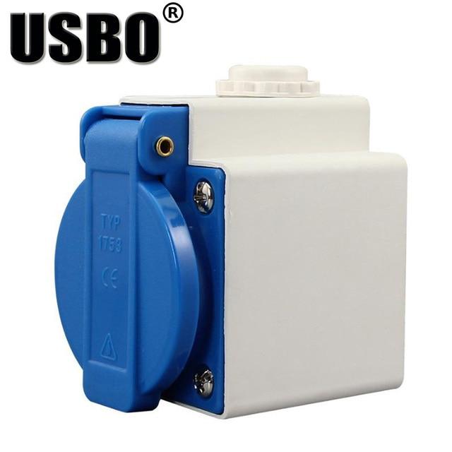 Blauw Wit Universele Ronde Cover Aarding Industrie Elektrische Ac Power Socket IP44 10A 250V Outdoor Stofdicht Waterdicht Socket