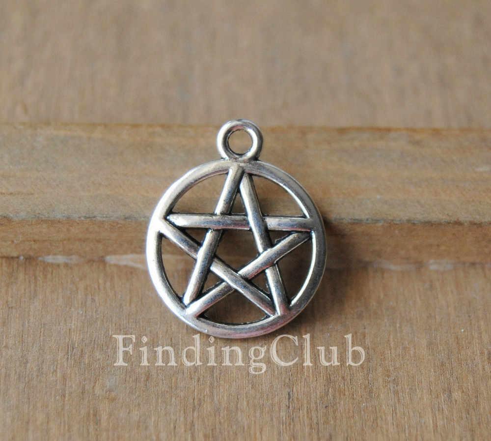 50 Pieces Zinc Alloy Tibetan Silver Witches Wicca Pagan Celtic Knot Pendants