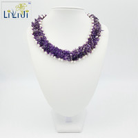 Natural Stone Amethyst White Freshwater Pearl Jade Toggle Clasp Handmade Knitting Necklace Approx 46cm 18inches