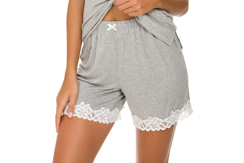 Alcea Rosea Lace Home Wear Female Shorts Pajamas Skin-Friendly Two Tone Lace Sleepwear Shorts