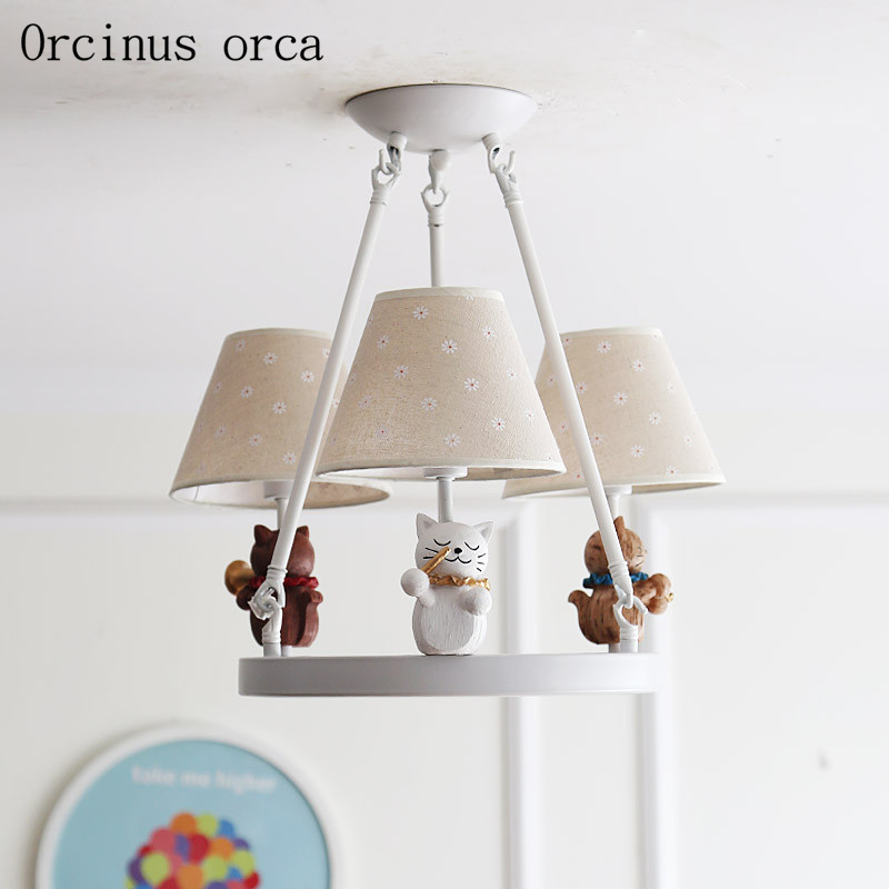 American cartoon cartoon kitten chandelier child room Boy Girl Bedroom modern minimalist doll LED pendant lamp free shipping children s room creative fighter chandelier boy bedroom cartoon led airplane chandelier free shipping