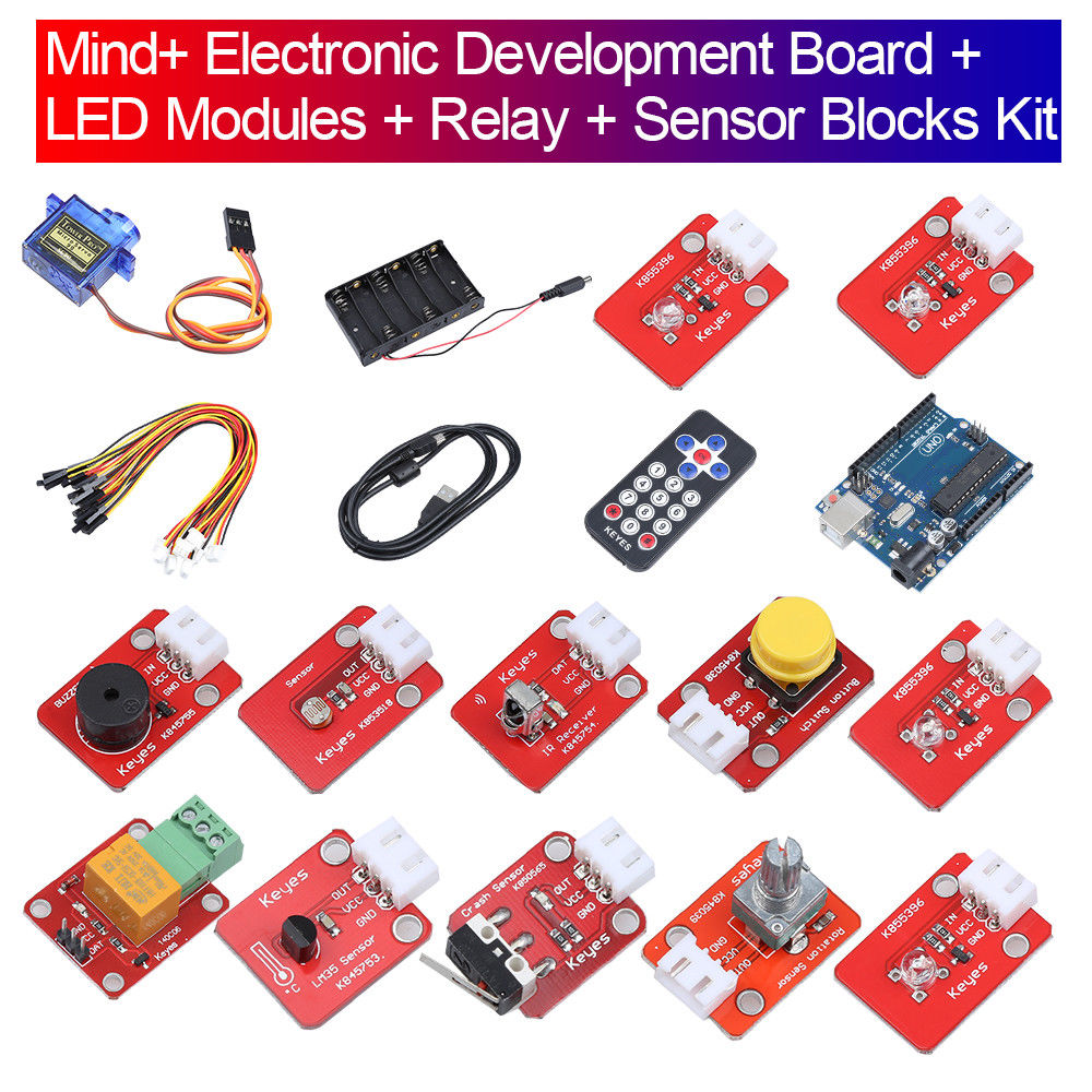 Keyes Mind+ Electronic Development Board + LED Modules + Relay Kit Part Set Portable for arduino Free Shipping 5v 2 channel ir relay shield expansion board for arduino