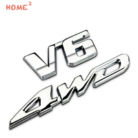 Car Styling High End Auto Alloy Body Sticker Decal Emblem Badge For V6 4WD Logo For