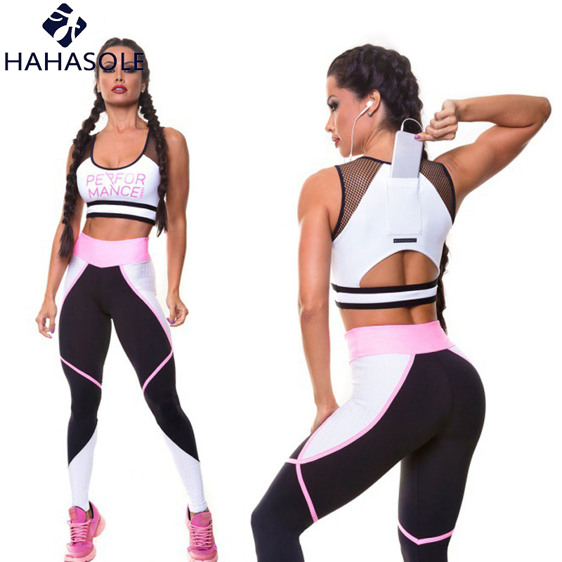 Home Hahasole Pink Color Yoga Sets Breathable Mesh Patchwork Workout Clothes Women Legging V-neck Bras Sport Suits Female Hwa1122-40
