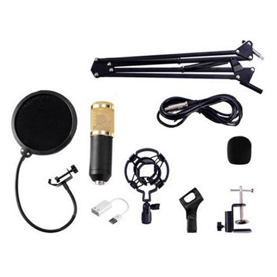 BM800 Condenser Microphone Kit Studio Suspension Boom Scissor Arm Sound Card bm800 condenser microphone kit studio suspension boom scissor arm sound card 3 5mm wired vocal recording ktv karaoke microphone