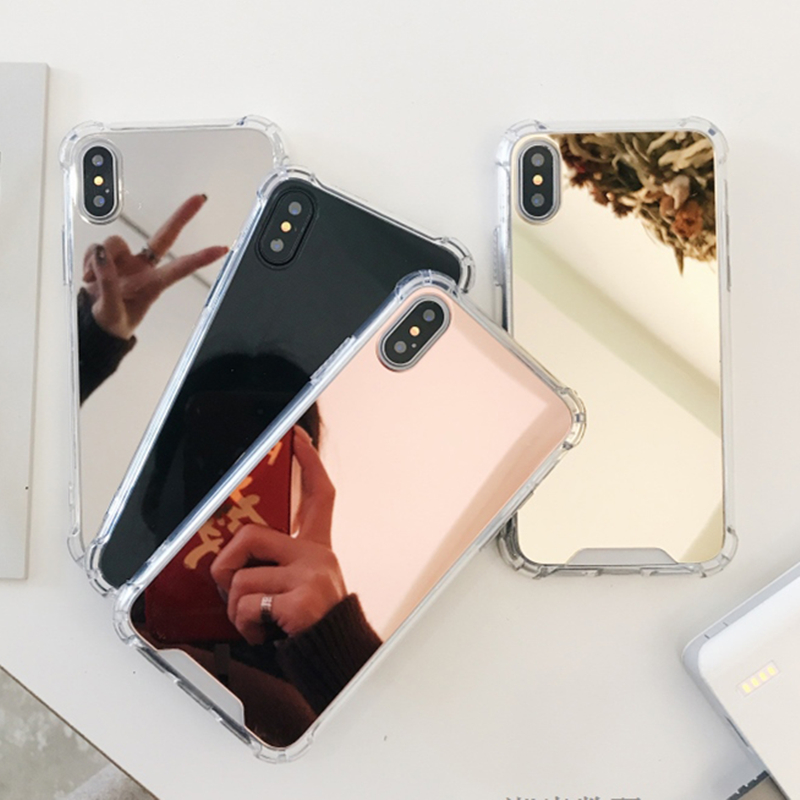 High Quality Phone Case For iPhone 8 7 X 6s Plus 6Plus 6sPlus 7Plus 8Plus Anti-shock Shockproof cases Mirror Cover TPU Casing