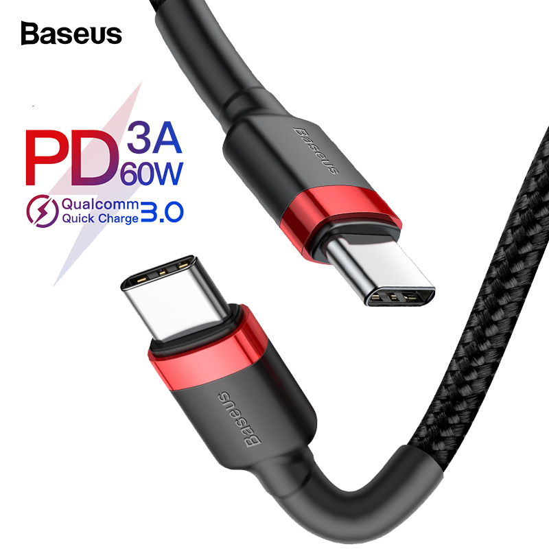 Baseus USB Type C Cable To USB C Cable For Samsung S10 Xiaomi Mobile Phone USBC PD Fast Charging Charger Cord USB-C Type-C Cable(China)