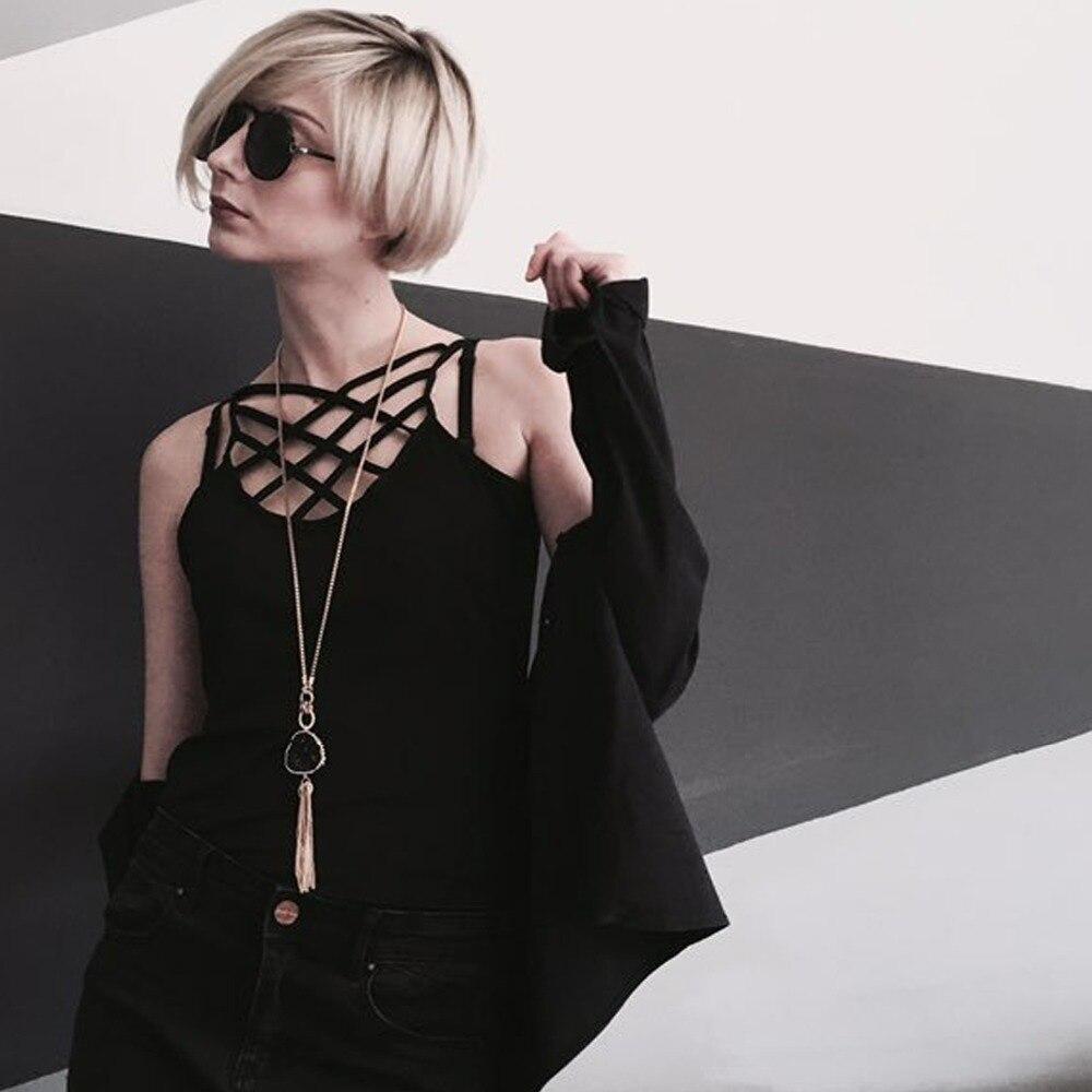 EManco Gros Glands Long Collier Imitation Pierre Chaîne Pendentif cadeaux pour Femmes Noir Or-couleur Marque 2018 Style