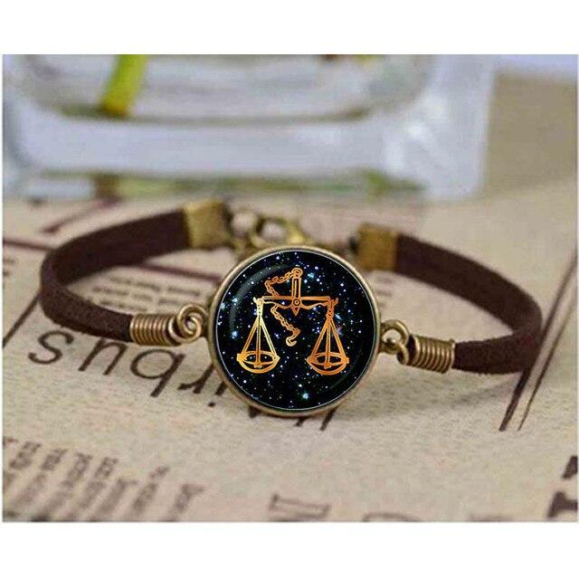 Libra Black Gl Zodiac Bracelet Charm Jewelry Birthday Gift