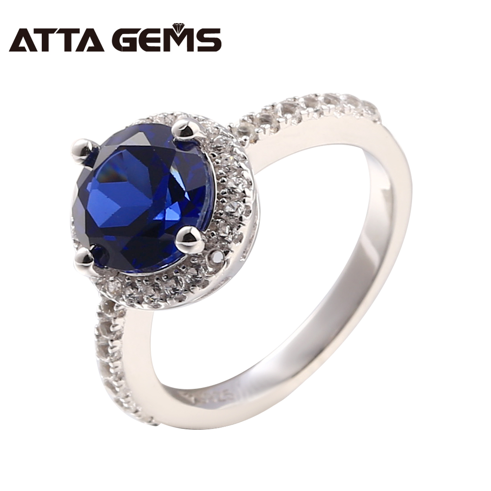 Blue Sapphire Sterling Silver Women Ring Fashion Popupar Style 2.3 Carats Created Sapphire Blue Stone Silver Rings Wedding RingsBlue Sapphire Sterling Silver Women Ring Fashion Popupar Style 2.3 Carats Created Sapphire Blue Stone Silver Rings Wedding Rings