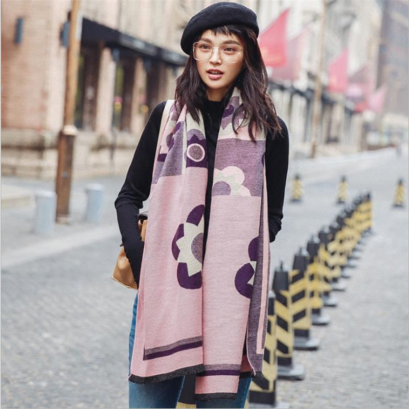 Women Pashmina Winter Spring Woman Scarves Wrap Shawl Thick Women's Scarf  Warm Cotton Cashmere Wool Blended Brushed Women Scarf