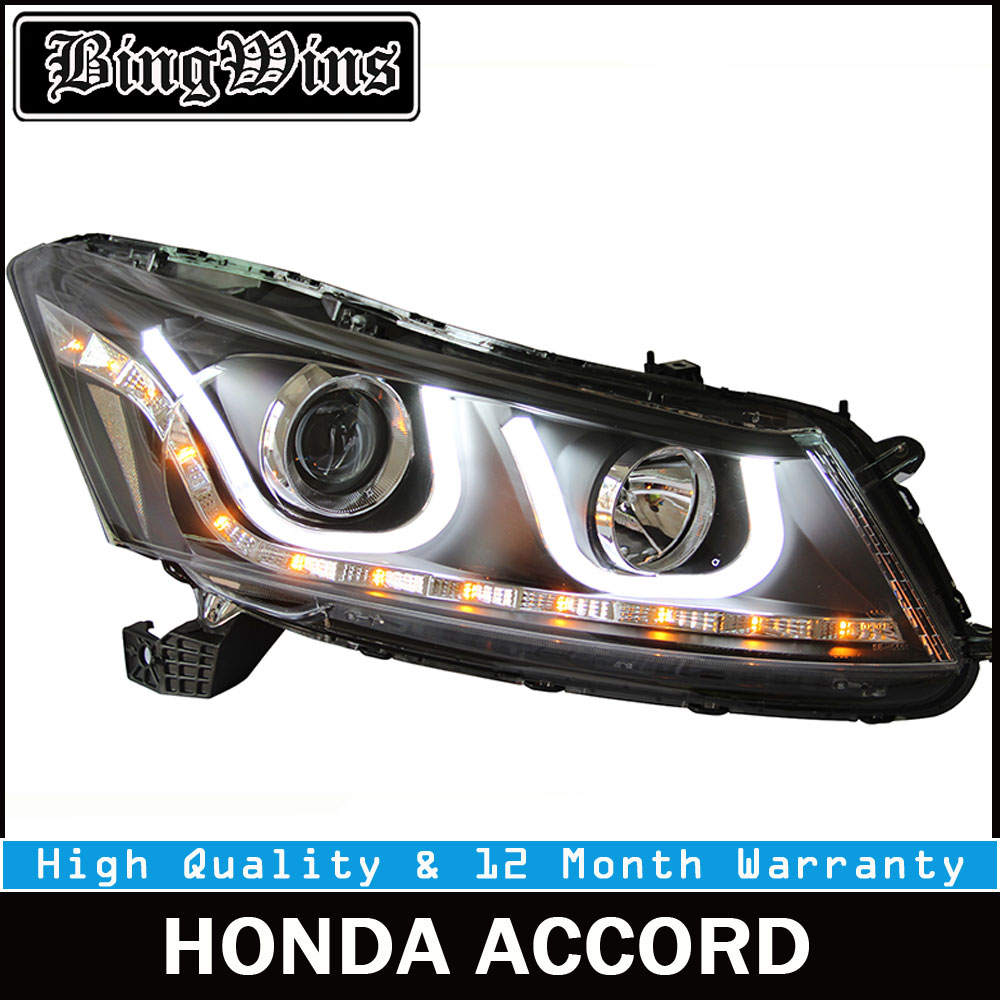 Car styling For Honda Accord Led Headlights 2008-2012 Head Lamp U Angel eye led DRL front light Bi-Xenon Lens xenon HID KITS