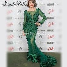 2016 3D Blumen Applique Perlen Smaragdgrünen Abendkleider Long Sleeves Transparent Sexy Lange Kleid Arabischen Stil