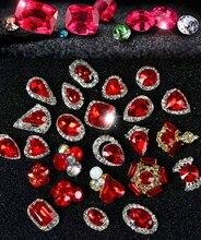 New Year 24 Style 100Pcs 3D Nail Art Hot Red Gem Nails Rhinestones Alloy Nail Decorations Jewelry Crystals Acrylic Sticker Nails