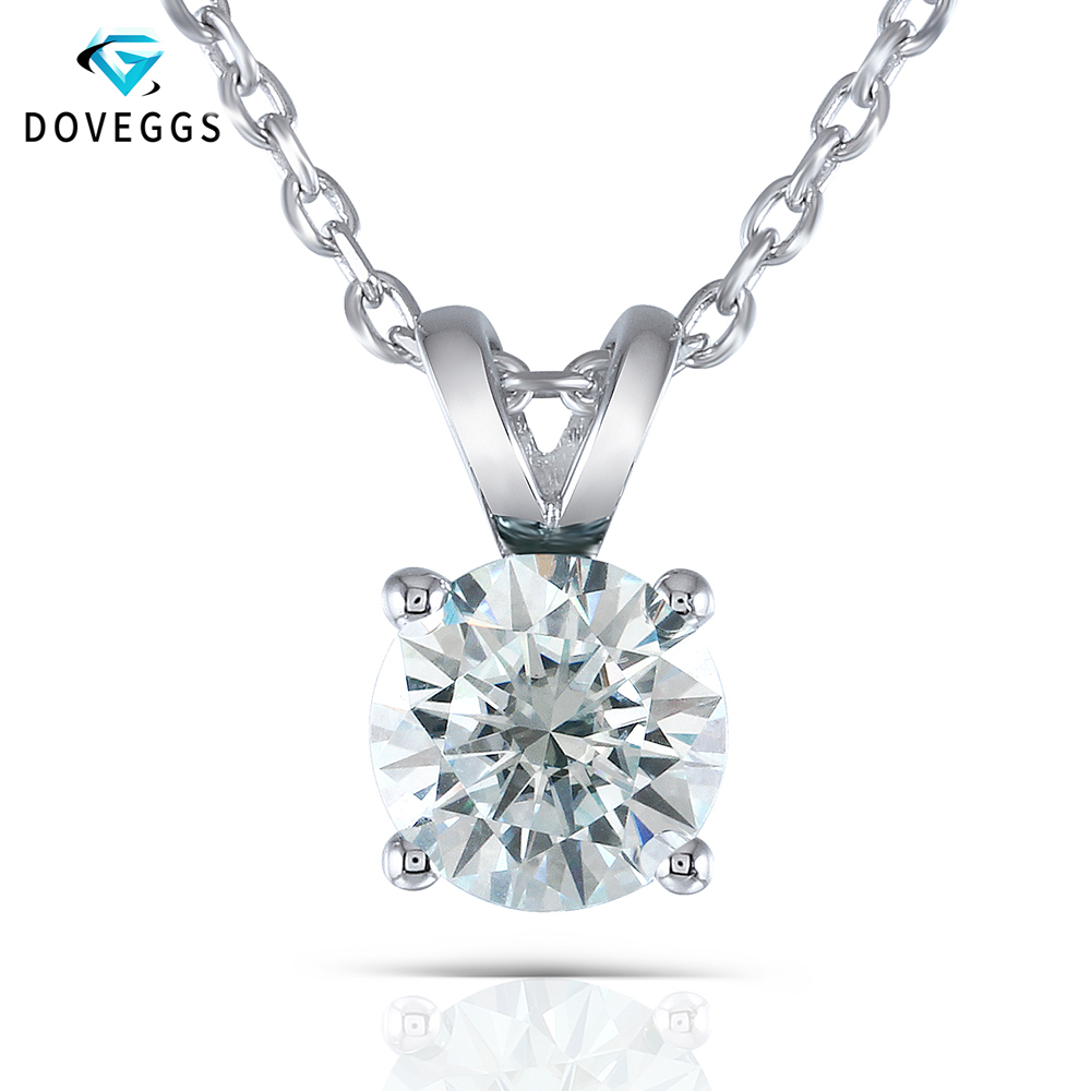 DovEggs Light Blue Color Moissanite Necklace  2 CTW 8mm Stone Round Solitaire Pendant with Sterling Solid 925 Silver Chain