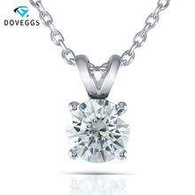 DovEggs Light Blue Color Moissanite Necklace Silver 2 Carat 8mm Stone Round Solitaire Pendant with Platinum Plated Silver Chain
