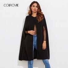 COLROVIE черное винтажное Элегантное зимнее шерстяное пальто-накидка, Женское пальто, осень, Женская рабочая одежда с длинным рукавом, верхняя одежда, пальто