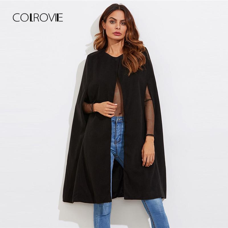 COLROVIE черный Винтаж элегантные зимние полушерстяные накидка пальто для женщин осень 2018 г. с длинным рукавом Женская Спецодежда верхняя