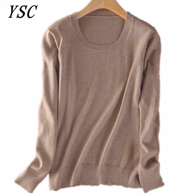 YSC 2019 Classic style Hot sales of Cashmere Sweater round collar Fashion on the solid color long sleeve knitted Pullover S-XXXL