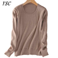 YUNSHUCLOSET Hot sales of Cashmere Sweater O-neck Fashion on the solid color long sleeve knitted Pullovers S-XXXL Free Shipping(China)