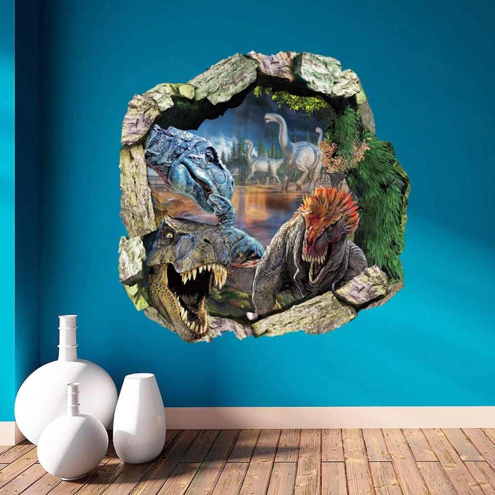 % 50*50 см 3D эффект парк и мир Юрского периода фильм динозавры через наклейки на стену для детей номеров домашний Декор стены переводные наклейки для настенной росписи