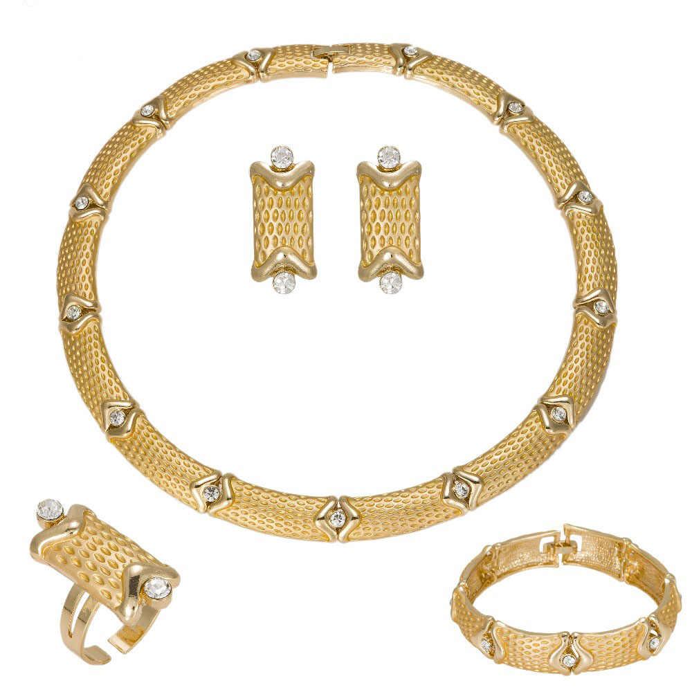 MUKUN 2017 Charme farbe Gold Schmuck Sets Für Frauen Afrikanische anhänger Halskette Lange Ohrringe Armband Ringe Party Kleid Zubehör