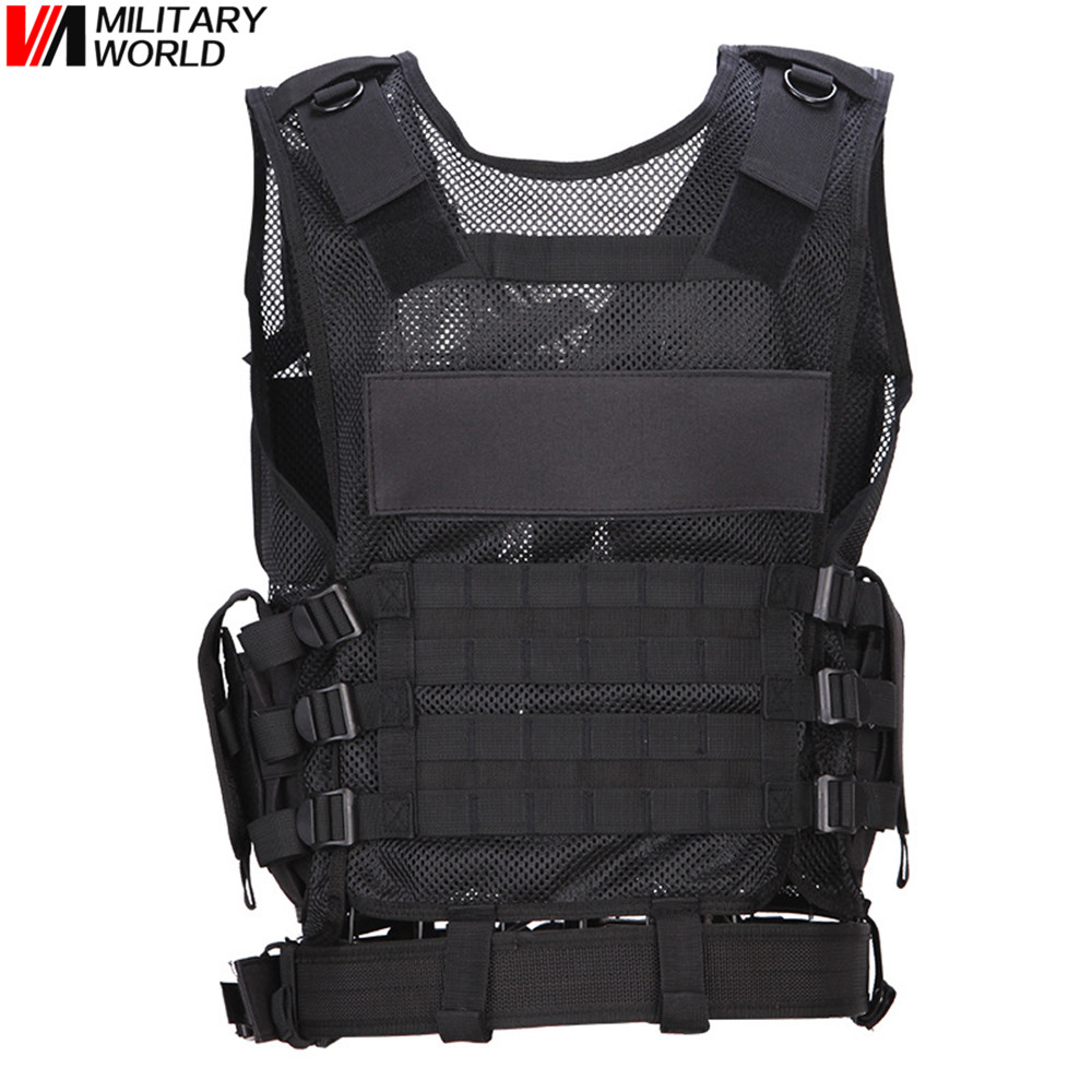 Outdoor Breathable Tactical Mesh Vest Multi-functional Training Combat Waistcoat CS Paintball Safety Clothing Hunting Equipment ...