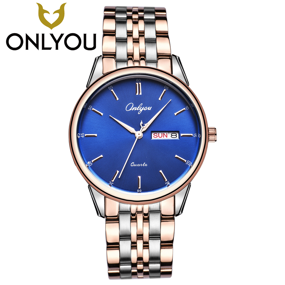 ONLYOU Mens Business Stainless Steel Watches Couple Dress Quartz Clock Male Luxury Wristwatch Women Fashion Waterproof Watch onlyou men s watch women unique fashion leisure quartz watches band brown watch male clock ladies dress wristwatch black men