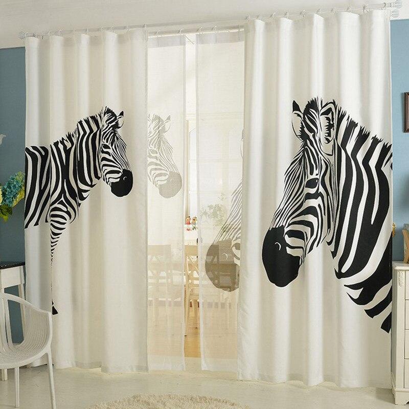 Cartoon black white kids curtain linen zebra curtains for home cortinas de quarto 3d window curtains for living room luxurious