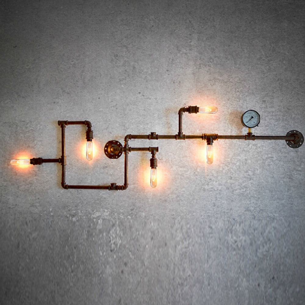 Nordic Industrial Steam Pipe Design Loft Punk Wall Light Sconce ...