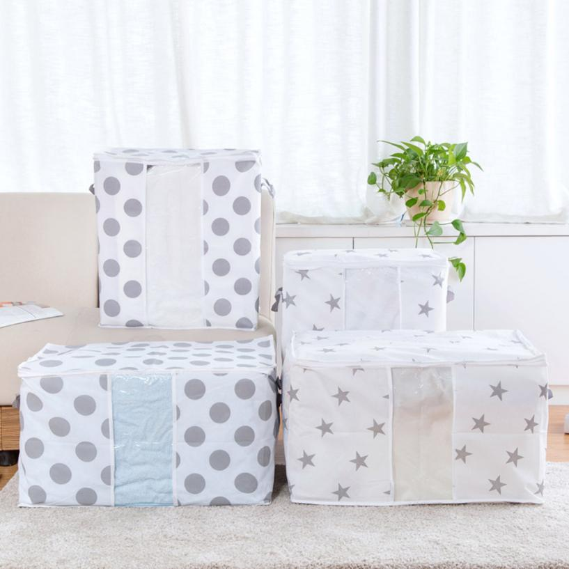 Non-Woven Quilts Storage Bag Boxes Dot Star Printed For Home Organization Plus Size Finishing Storage Boxes With Windows Bags