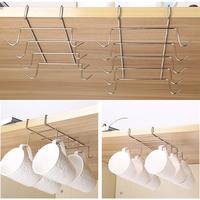 304 Stainless Steel   Kitchen   Cupboard Hanging Under-the-Shelf Mug Rack Cup   Storage   Drying Holder