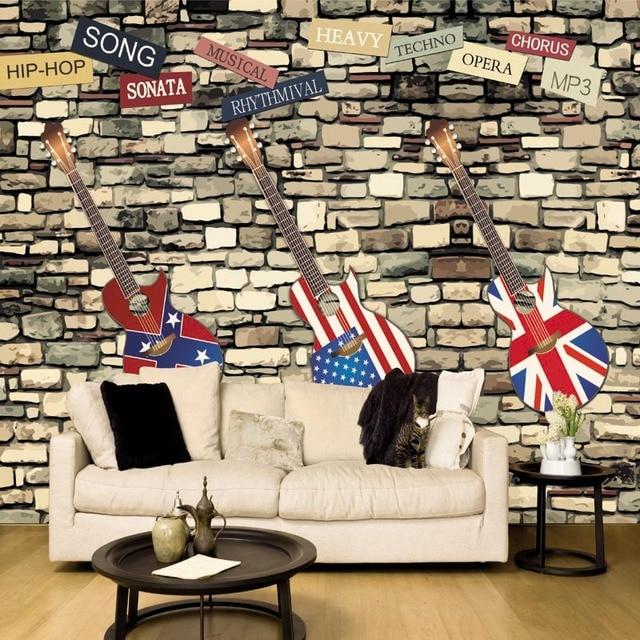 custom 3d mural personality guitar wallpaper bar hotel ktv musiccustom 3d mural personality guitar wallpaper bar hotel ktv music hall bedroom living room decoration retro brick wallpaper mural