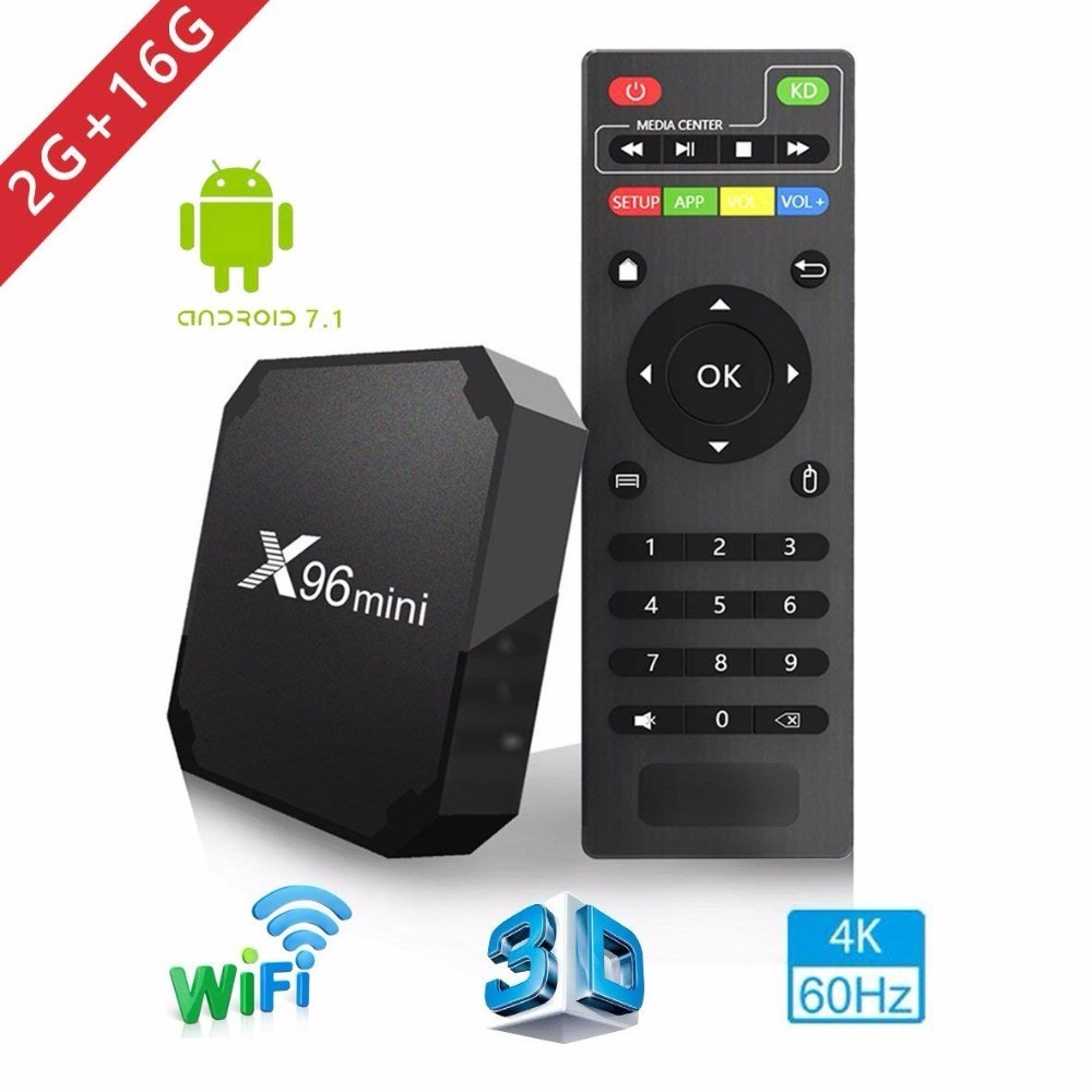 2018 X96 mini tv box WiFi android 7.1 2GB 16GB Amlogic 8GB S905W tvbox Quad Core WiFi Media Player X96mini smart Set-top tv Box цена