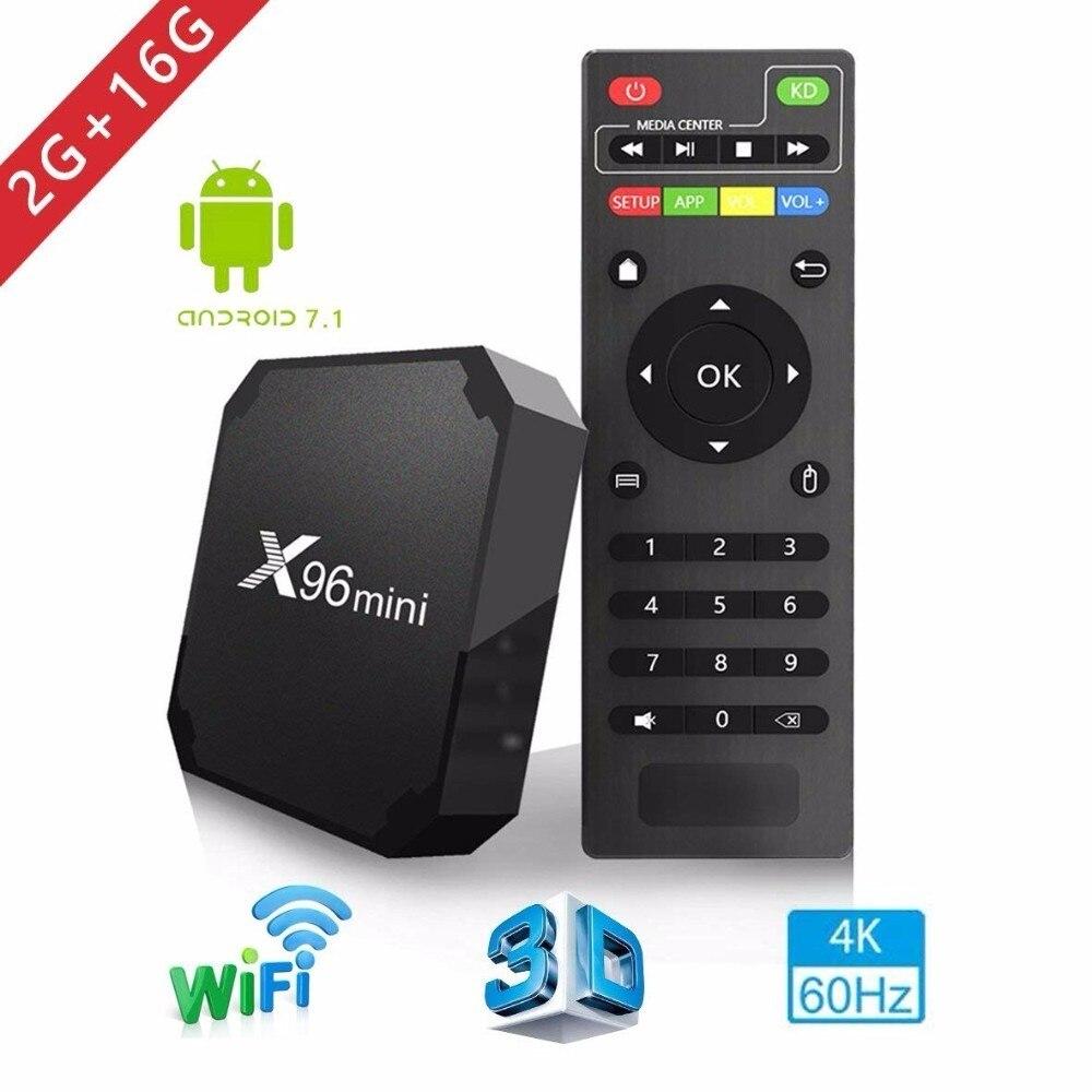 2018X96 mini tv box WiFi android 7.1 2 gb 16 gb Amlogic 8 gb S905W tvbox Quad Core WiFi media Player X96mini smart Set-top tv Box